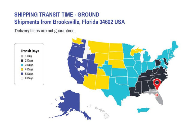 United States map with Ground Shipping timelines from Brooksville, Florida