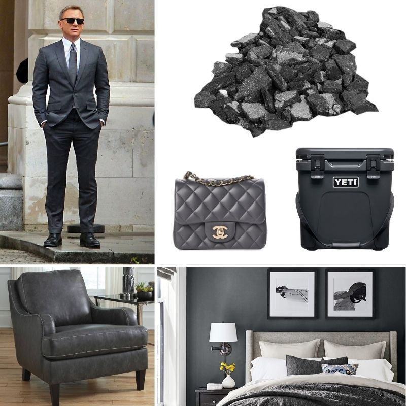 Charcoal gray color inspiration collage