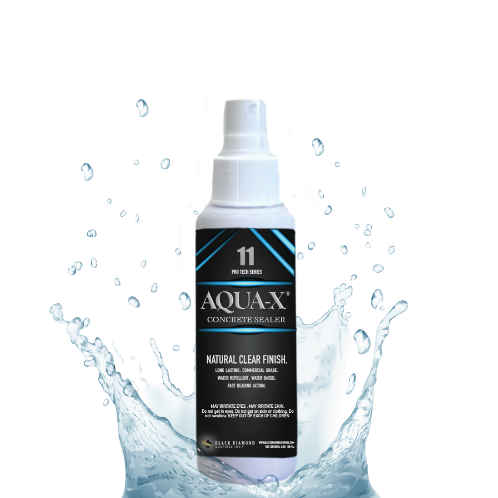 White bottle of Aqua-X 11 with black label and blue graphics. Bottle is surrounded by a splash of water with droplets over a white background.