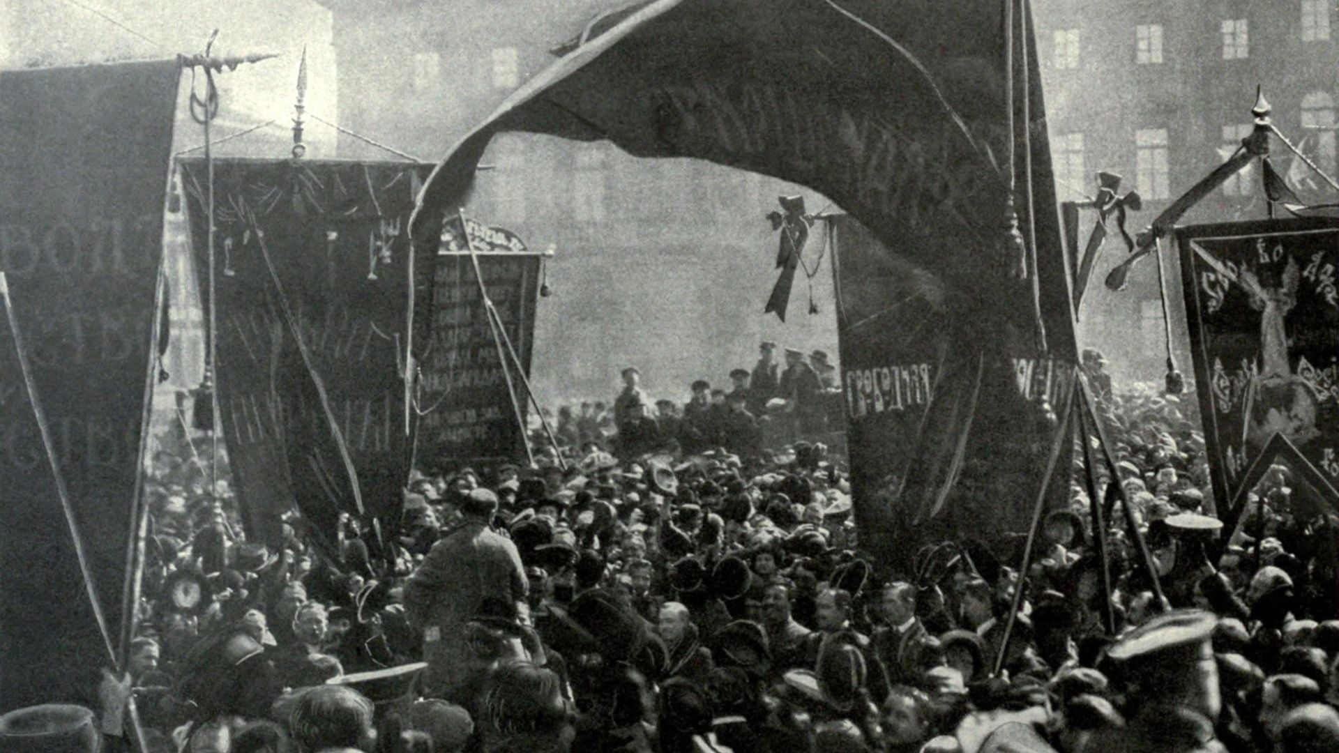 Bolshevik banners and speakers in St. Petersberg during the Russian Revolution. 1917.