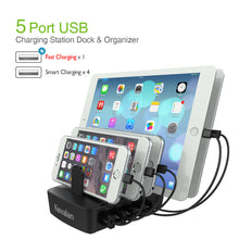 Load image into Gallery viewer, Kavalan 60W 5 Port Rapid USB Charging Station Dock & Organizer