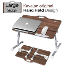 Load image into Gallery viewer, Kavalan Right/Left Handed Portable Laptop Table with Top Handle Design_Black Teak