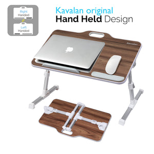 Kavalan Right/Left Handed Portable Laptop Table with Top Handle Design_Black Teak