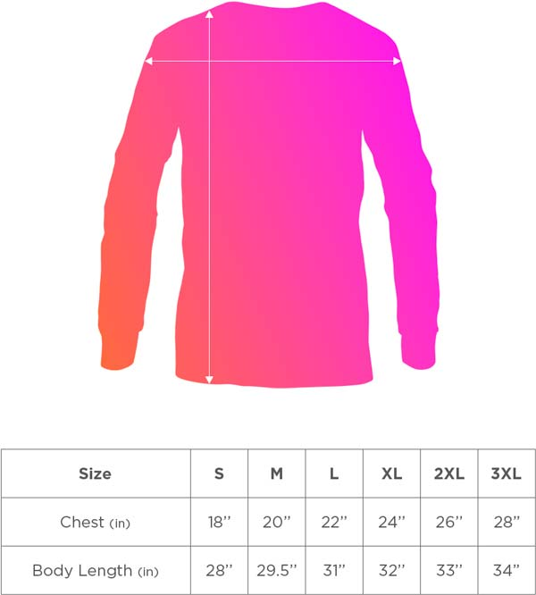 Long Sleeve Sizing Guide