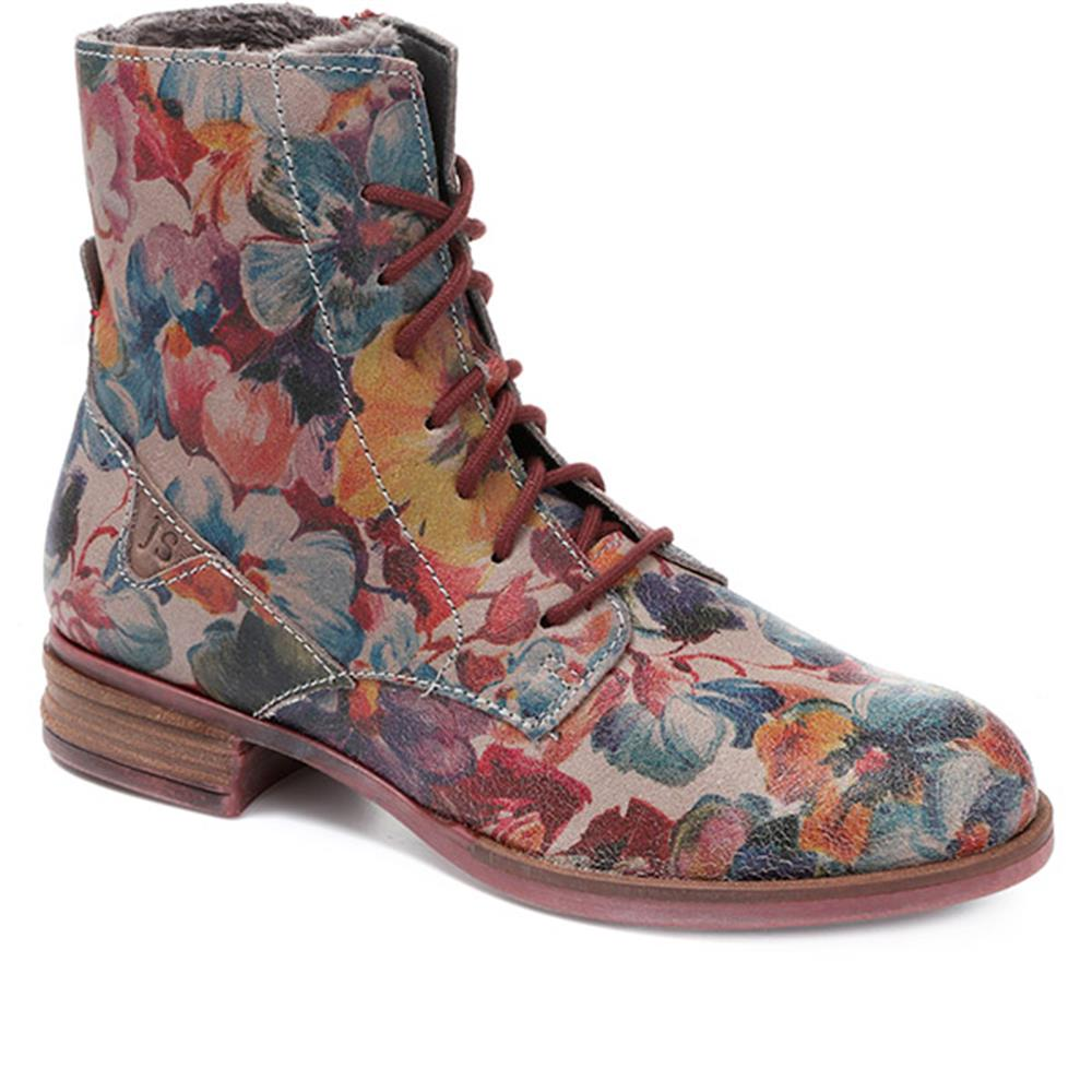 Sanja 01 Floral Print Leather Ankle Boot - JOSEF30505 / 316 098