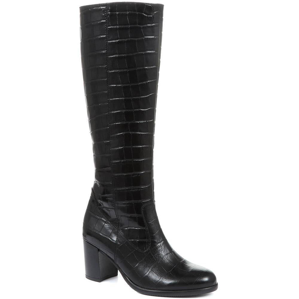 Lettie Slim Fit Leather Knee Boot - GAB30572 / 316 650