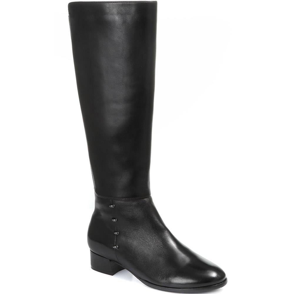 Studded Leather Knee High Boot - SINO30516 / 316 245