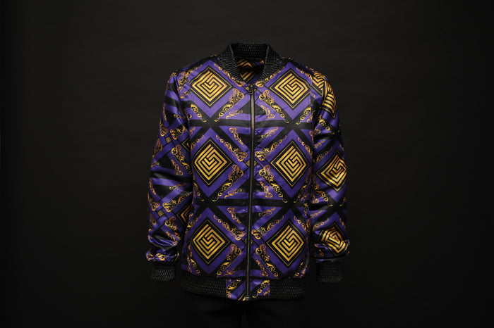 Silk Bomber Jacket Purple/Gold