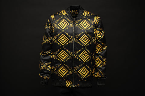 Silk Bomber Jacket Black/Gold