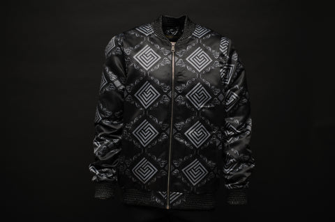 Silk Bomber Jacket Black/Chrome