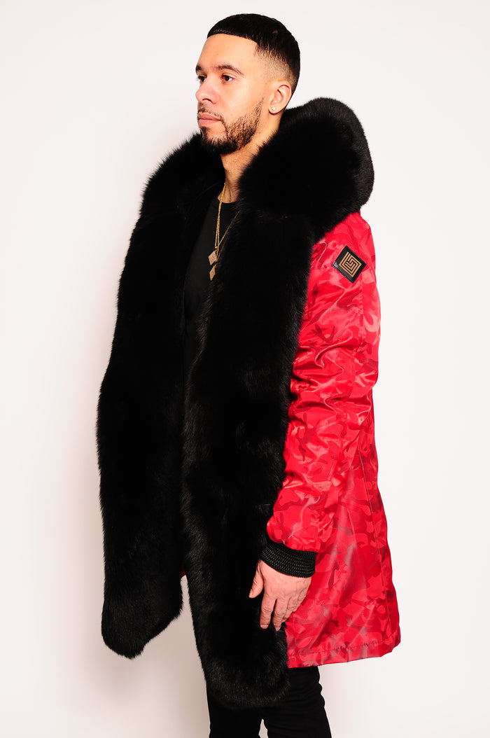 Men's Parka Jacket Red Camo