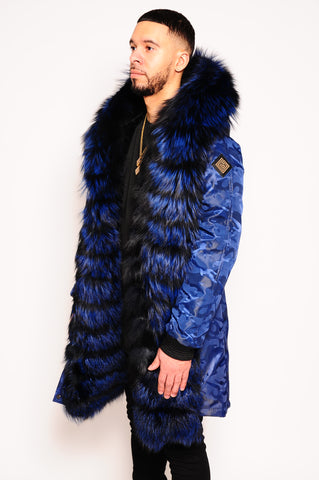 Men's Parka Jacket Blue Camo
