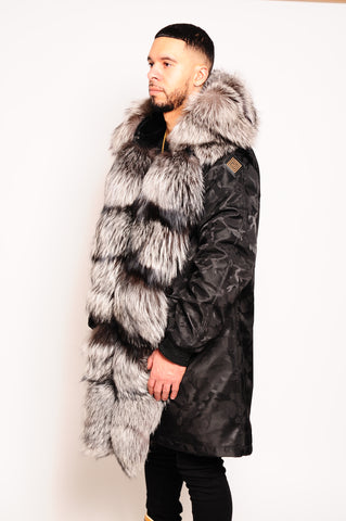 Men's Parka Jacket Black Silver Foxx