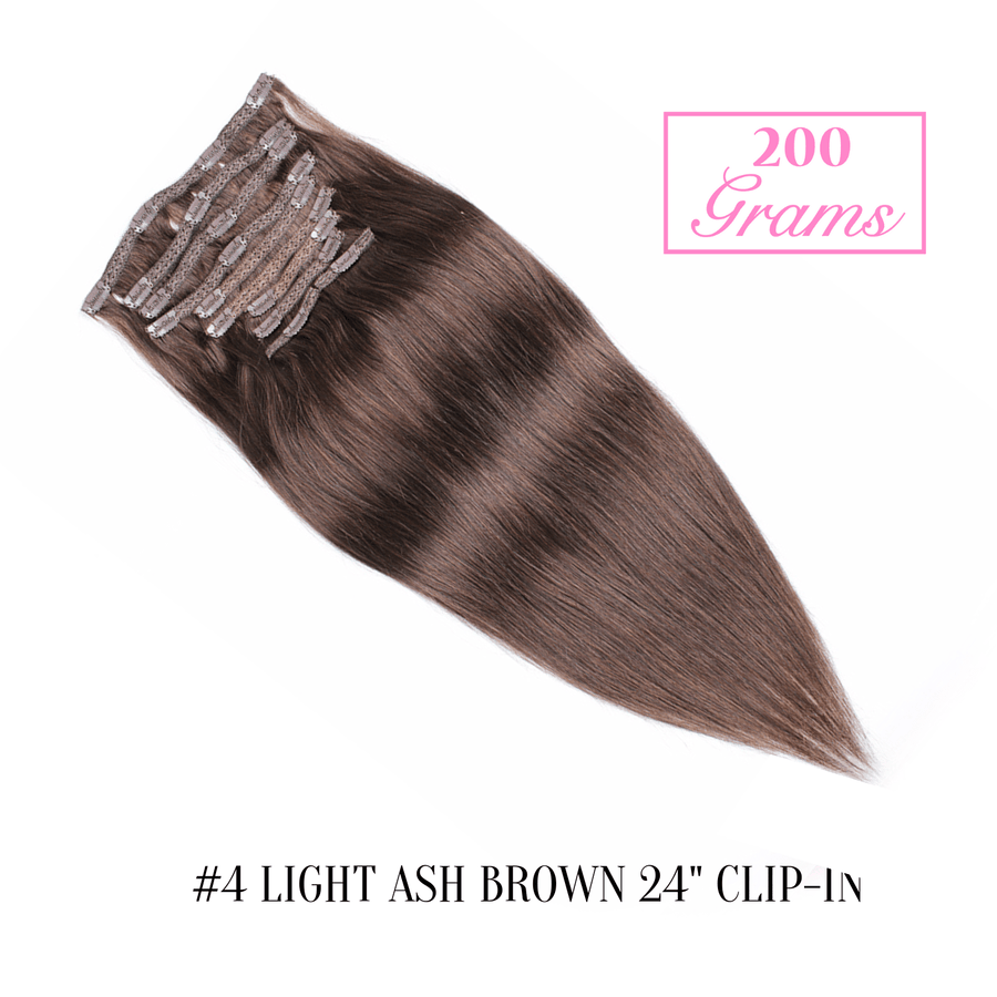 "#4 Light Ash Brown 24"" Clip-in (200 Grams)"