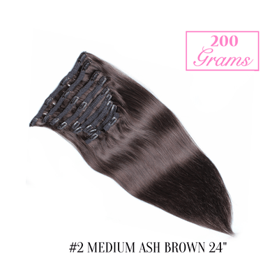 "#2 Medium Ash Brown 24"" Clip-in (200 Grams) 