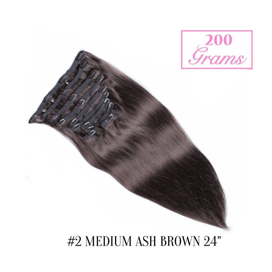 "#2 Medium Ash Brown 24"" Clip-in (200 Grams)"