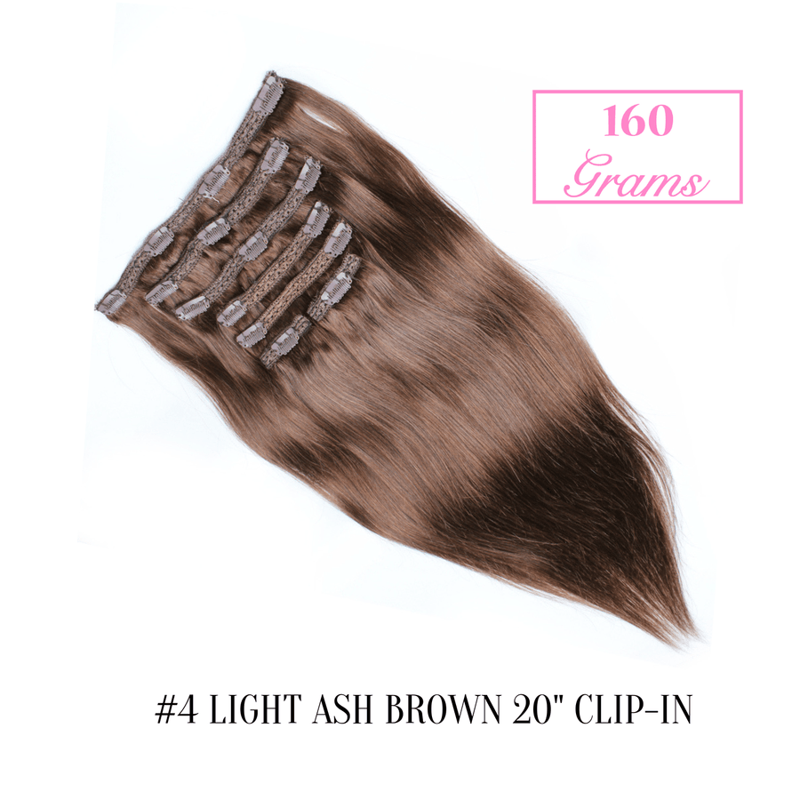 "#4 Light Ash Brown 20"" Clip-in (160 Grams)"
