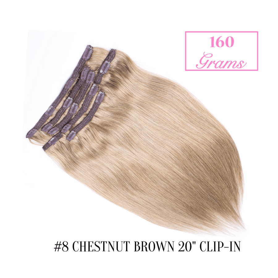 "#8 Chestnut Brown 20"" Clip-in (160 Grams)"