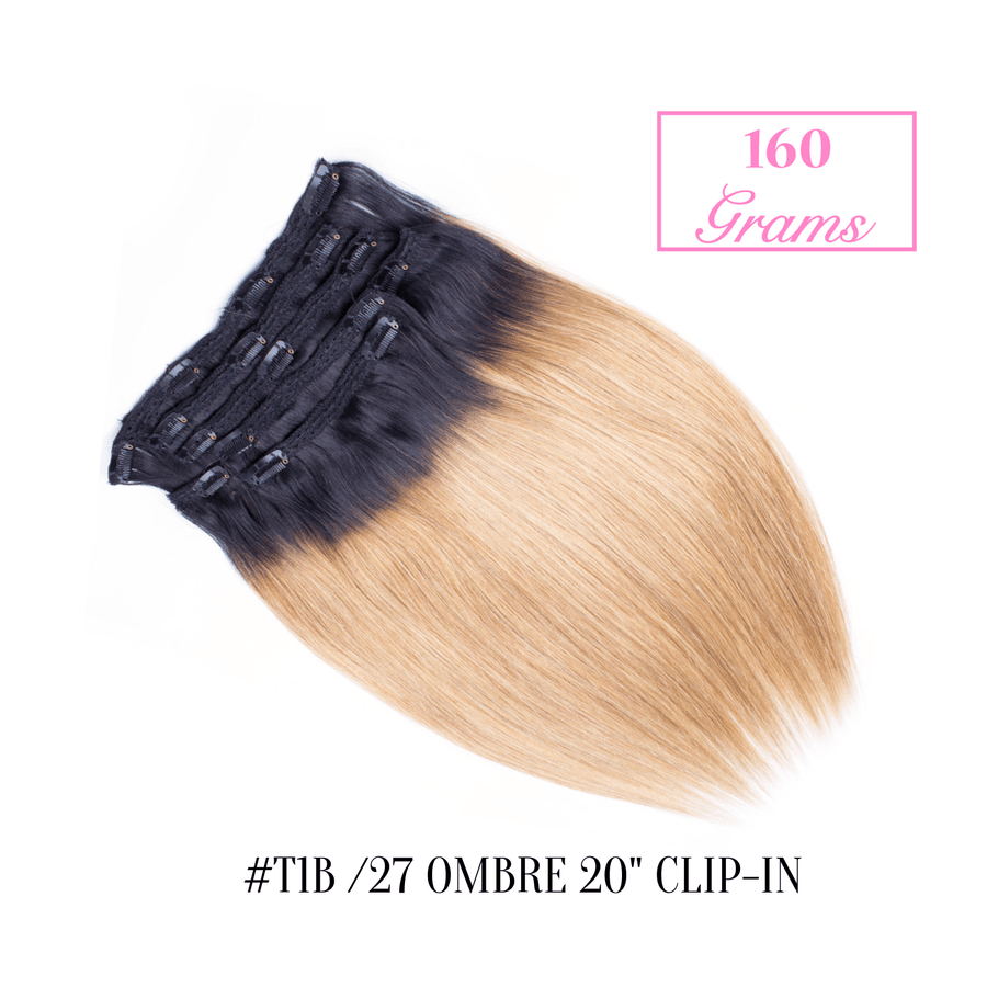 "#T1b /27 Ombre 20"" Clip-in (160 Grams)"
