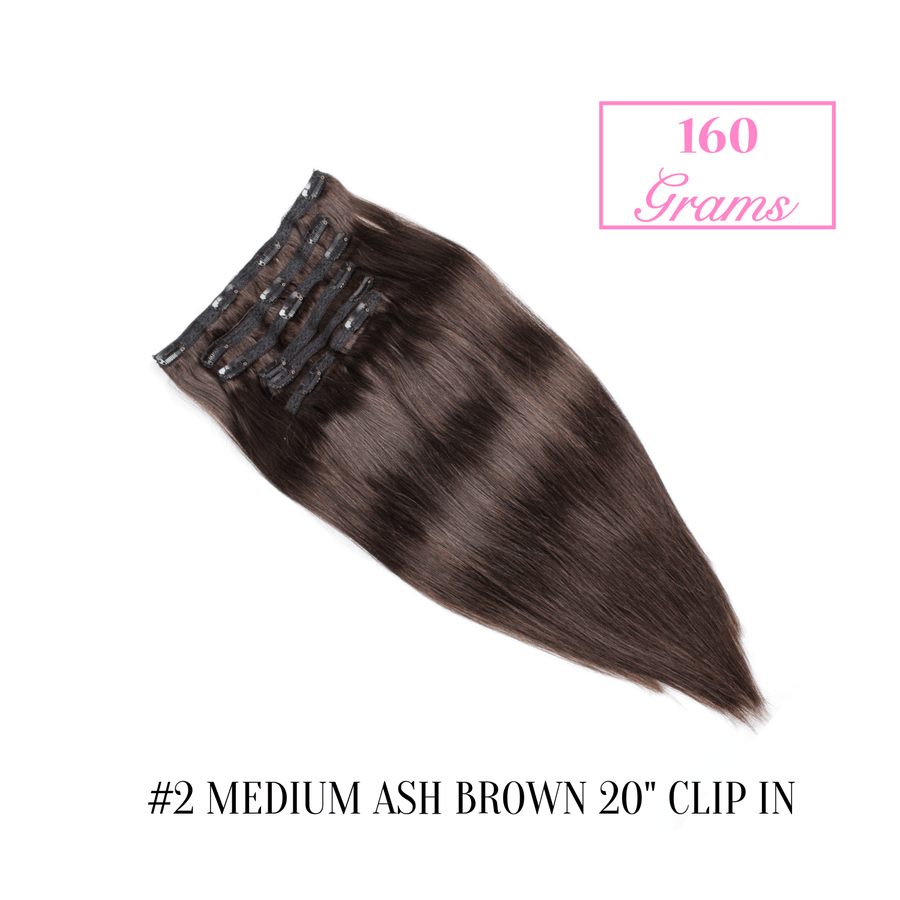 "#2 Medium Ash Brown 20"" Clip-in (160 Grams)"