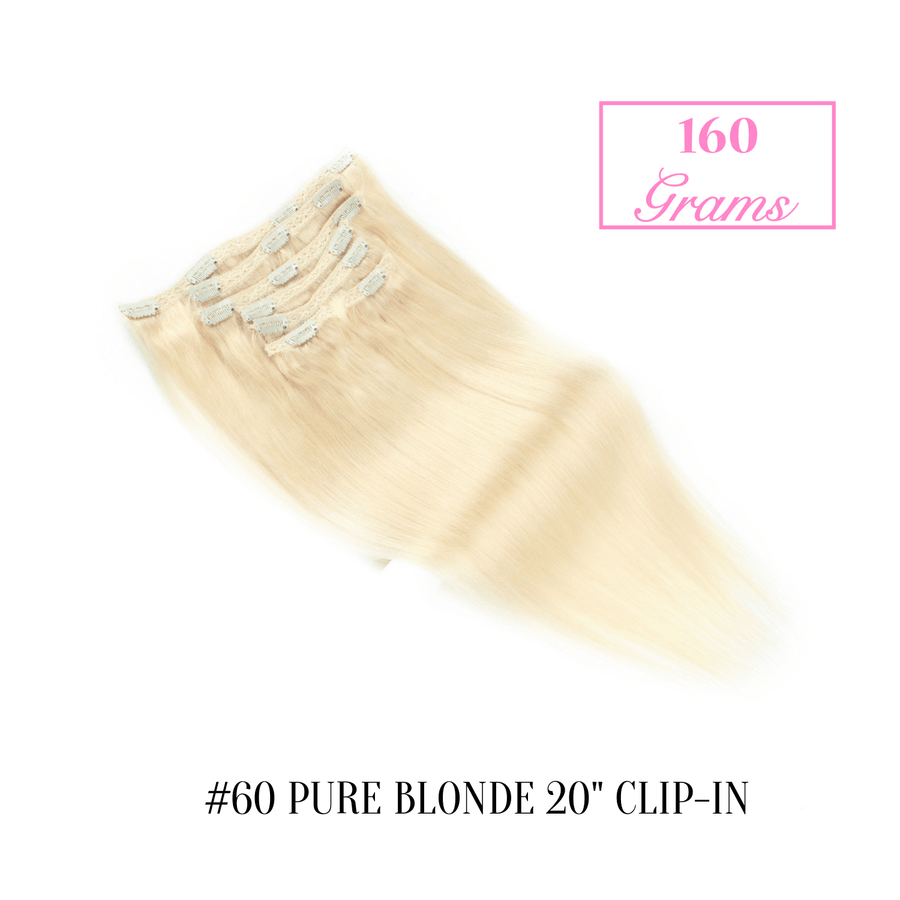 "#60 Pure Blonde 20"" Clip-in (160 Grams)"