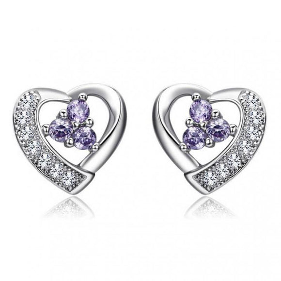 Thread Shaped Purple Crystal Silver Plates Earrings