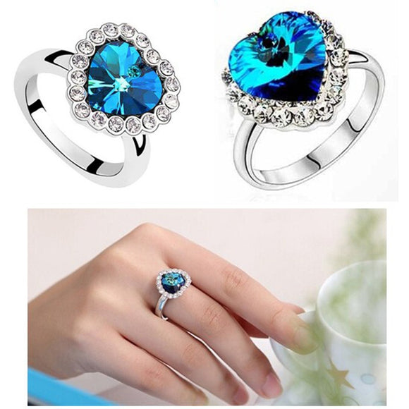 Heart Shaped Crystal Rhinestone Ring