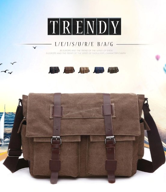 Scione Canvas Messenger Casual Shoulder Bags & Crossbody Backpack For Men