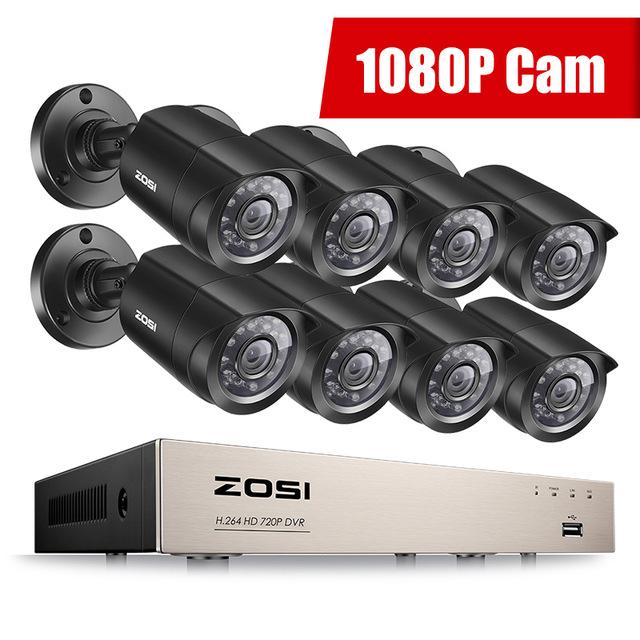 ZOSI-1080p 8ch Home Security Camera Kit & Outdoor Wireless Security System With DVR & Monitor