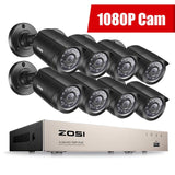 ZOSI-1080p 8ch Home Security Camera Kit & Outdoor Wireless Security System With DVR & Monitor - Crillow