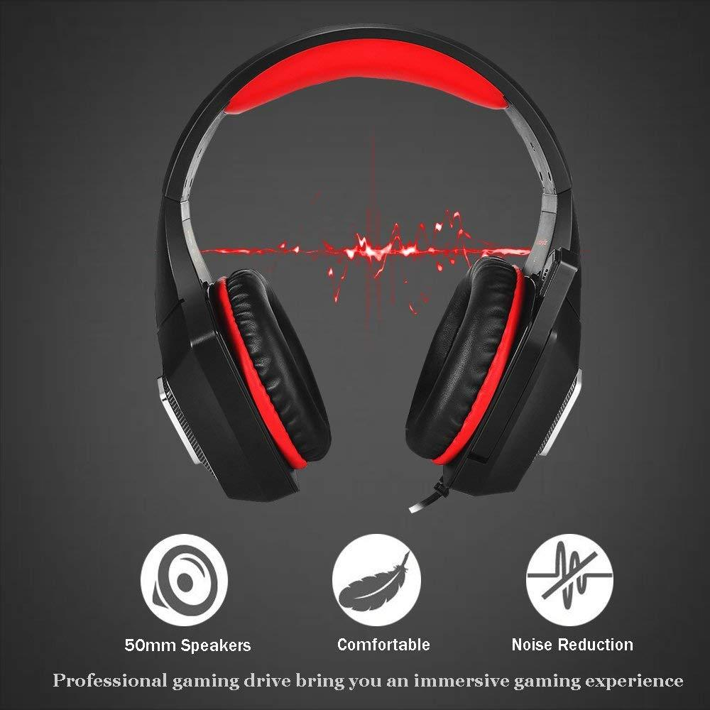TTKK Hunter Spider Gaming Headphones For PS4, Xbox One With LED Lights & Mic