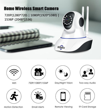 Hiseeu Night Vision CCTV Wireless Baby Monitor Camera & 1080p IP Surveillance Kit - Crillow