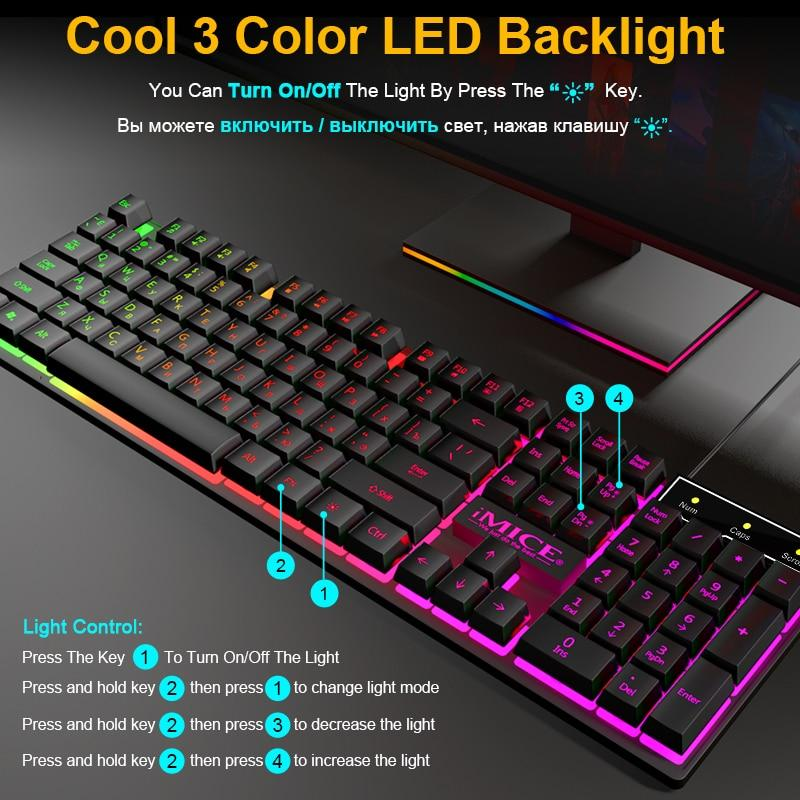 US Wireless Mechanical Gaming USB Keyboard With 104 Keys & Backlit Feature