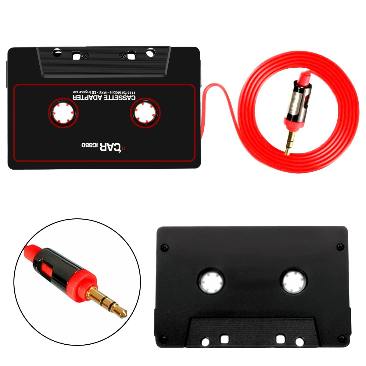 Car Cassette adapter & Tape Player Convertor For iPod, iPhone With Aux Cord