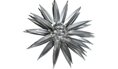 Platinum Cactus Flower, Metal Flower Wall Art - Watson & Co
