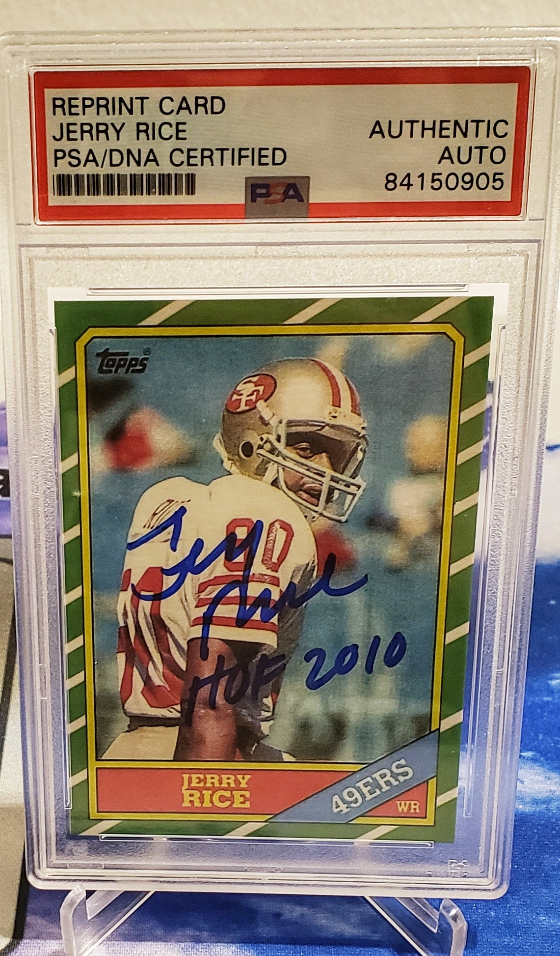 1986 Topps Jerry Rice RC Auto Inscribed PSA
