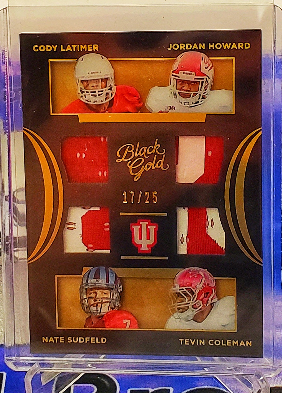 2016 Panini Black Gold Cody Latimer/Jordan Howard/Nate Sudfeld/Tevin Coleman Quad Logo Patch /25