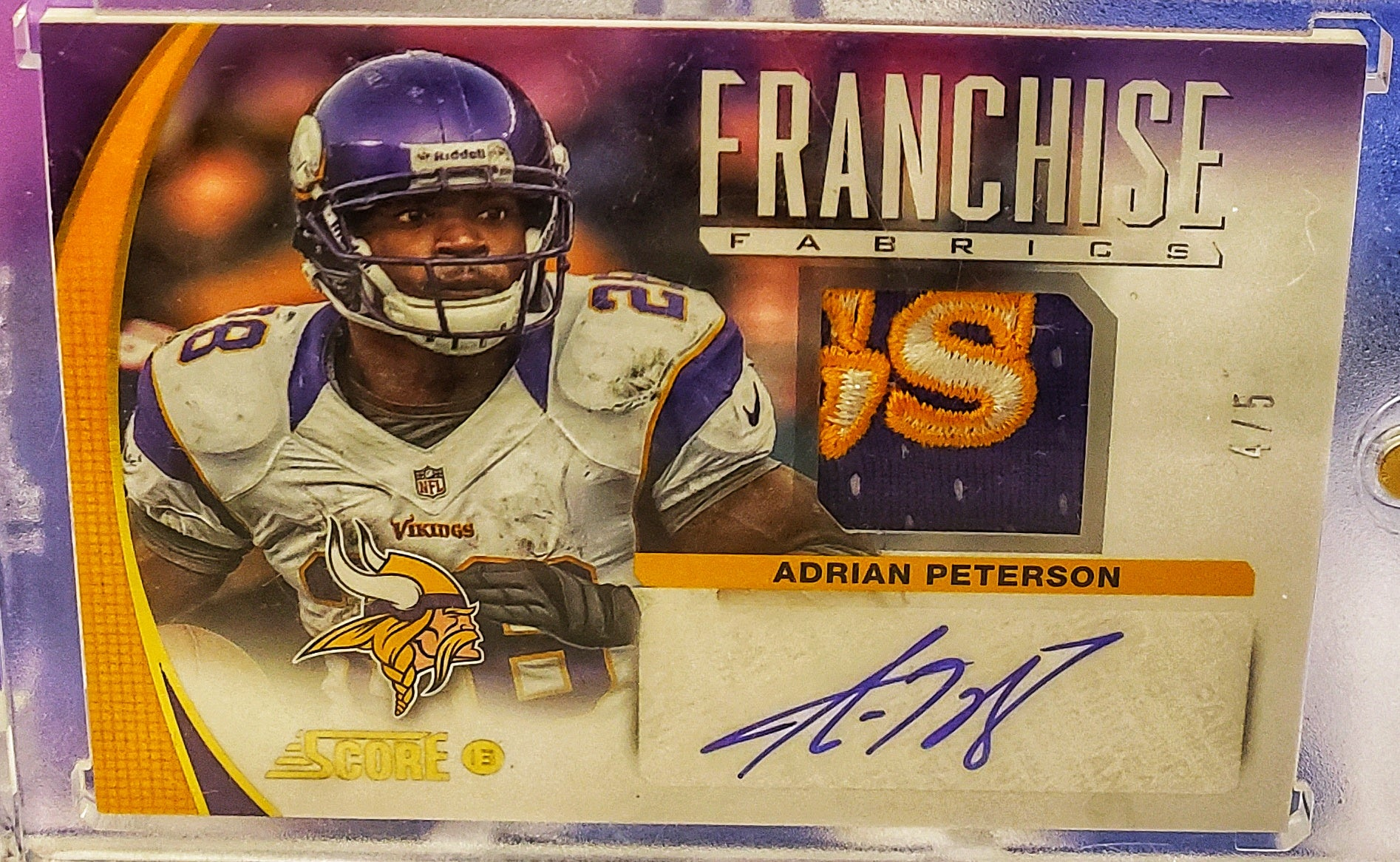 (NEW) 2013 Panini Select Adrian Peterson GAME WORN Patch Auto SSP #/5