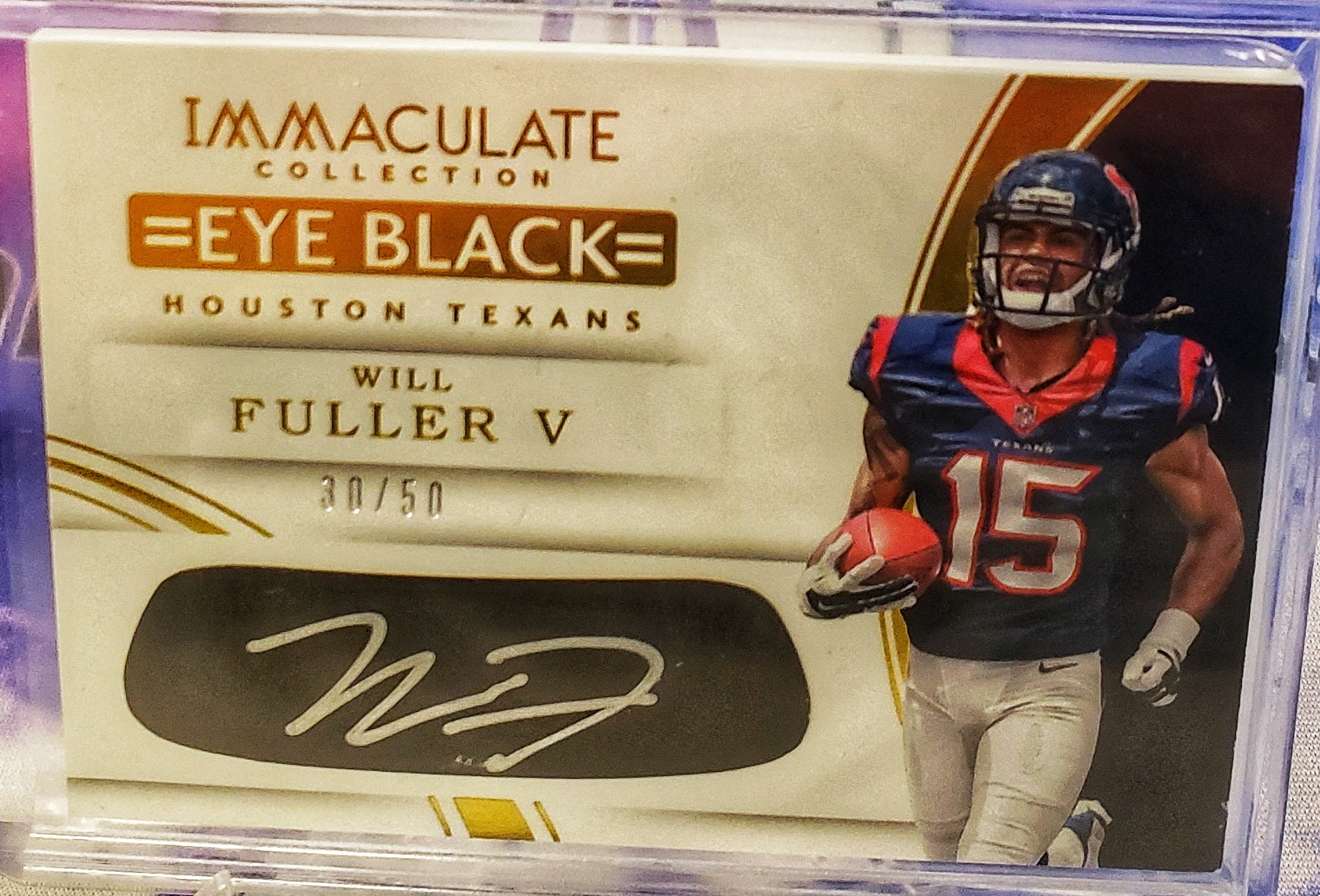 (NEW) 2016 Panini Immaculate Will Fuller Eye Black Autograph RC #/50