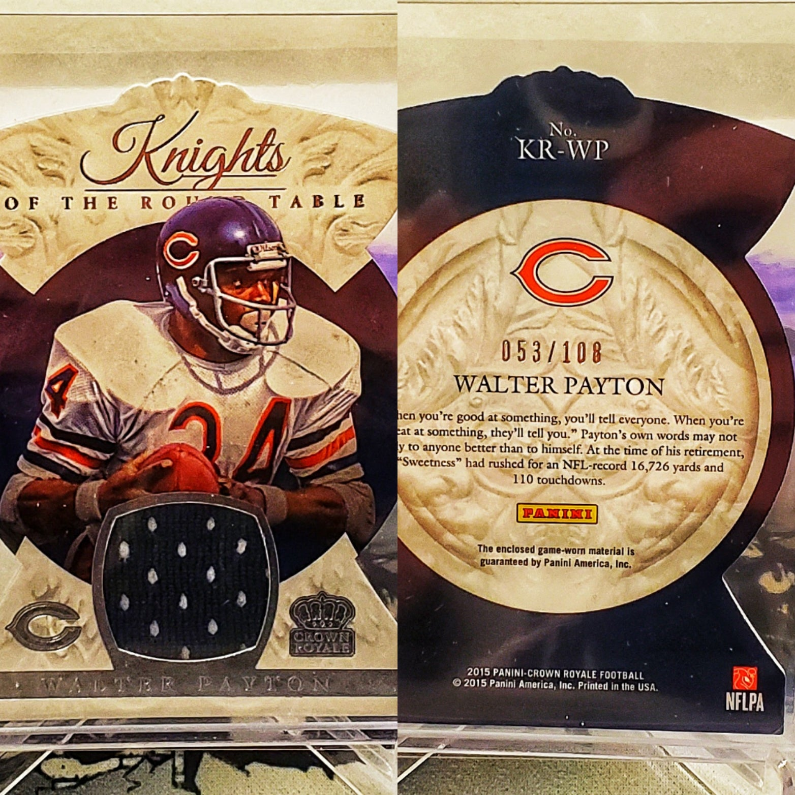2015 Crown Royale Walter Payton GAME WORN Patch /108