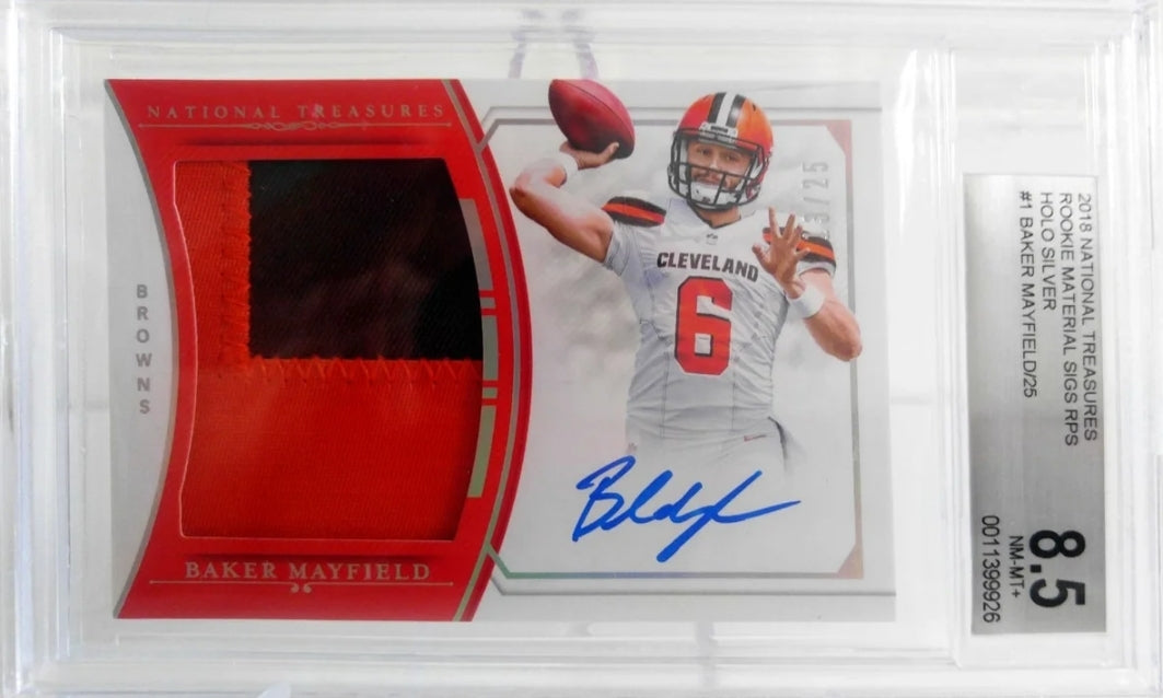Baker Mayfield Panini National Treasures RPA /25 BGS 8.5