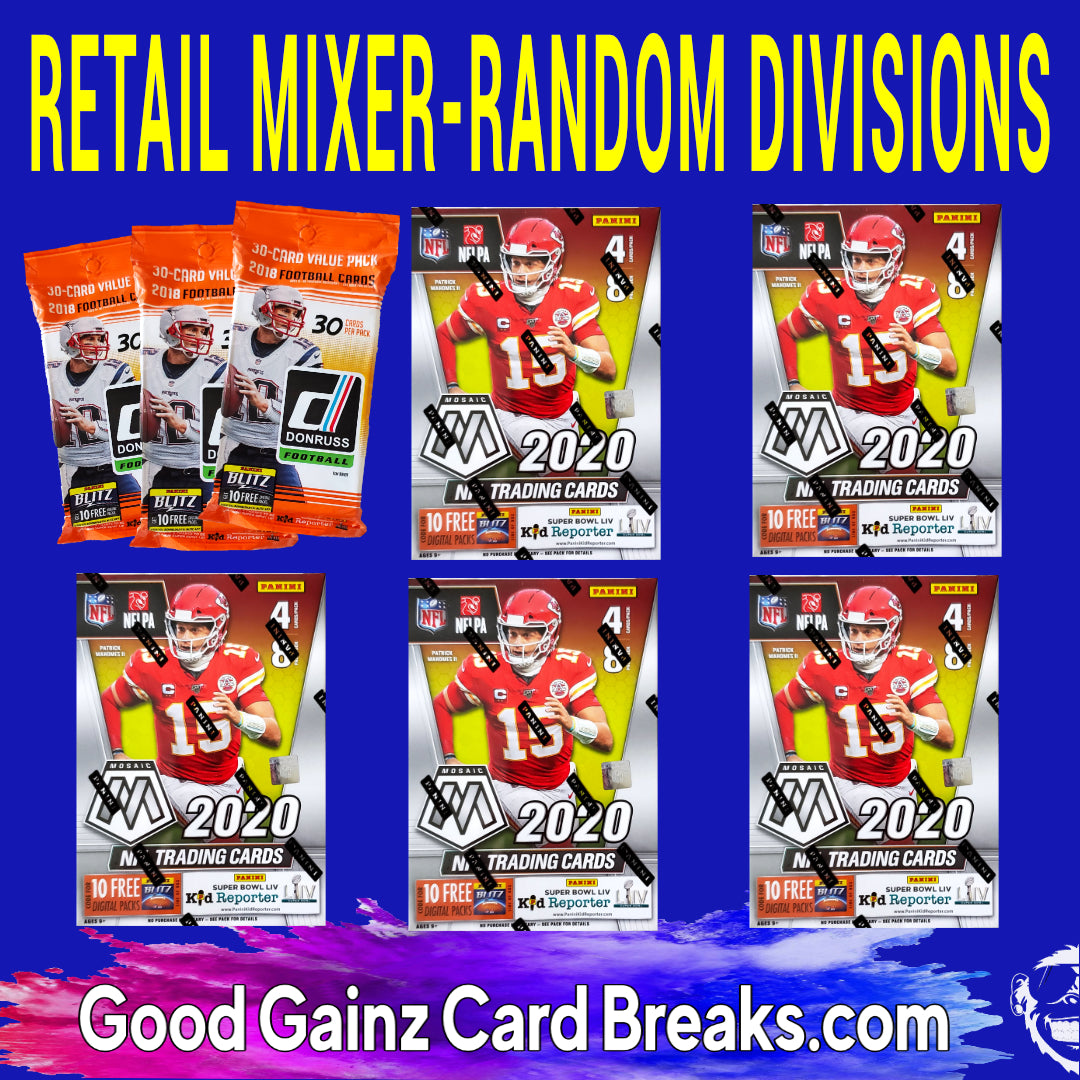 8-BOX/PACKS RETAIL FOOTBALL MIXER RANDOM DIVISIONS #2039