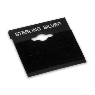 "1 1/2"" x 1 1/2"" Black ""Sterling Silver"" Earring Card with Flocked Velvet"