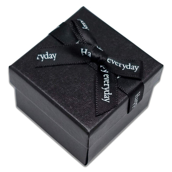 "1 3/4"" x 1 3/4"" Black Linen Paper Cardboard Ribbon Bow Jewelry Box"