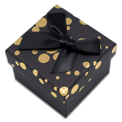 "1 3/4"" x 1 3/4"" Black and Gold Polka Dot Cardboard Ribbon Bow Jewelry Box"