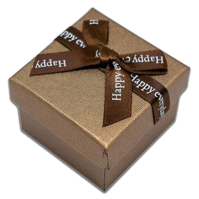 "1 3/4"" x 1 3/4"" Brown Linen Paper Cardboard Ribbon Bow Jewelry Box"