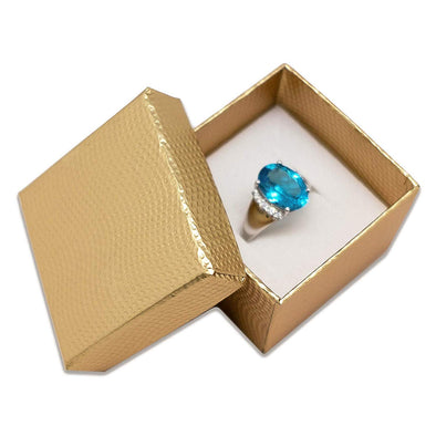 "1 3/4"" x 1 3/4"" Gold Cardboard Jewelry Box with White Velvet Insert"