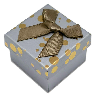 "1 3/4"" x 1 3/4"" Gray and Gold Polka Dot Cardboard Ribbon Bow Jewelry Box"
