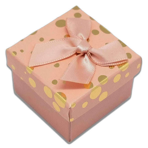 "1 3/4"" x 1 3/4"" Pink and Gold Polka Dot Cardboard Ribbon Bow Jewelry Box"