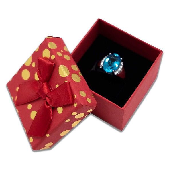 "1 3/4"" x 1 3/4"" Red and Gold Polka Dot Cardboard Ribbon Bow Jewelry Box"